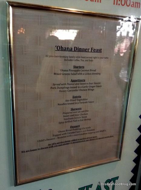 'Ohana menu