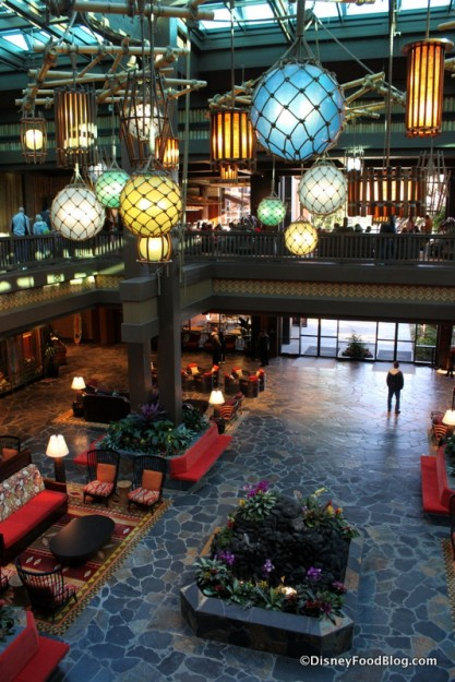 Polynesian Village Resort Lobby as viewed from upstairs