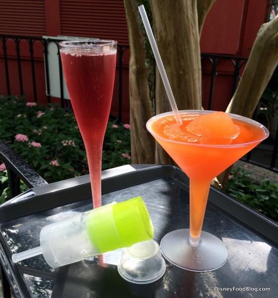 Sparkling Pomegranate Kir, Ice Pop Pomme, and La Passion Martini Slush
