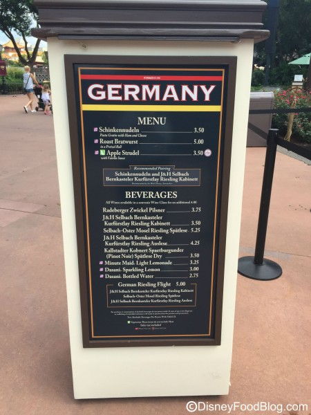 2015 Germany Menu