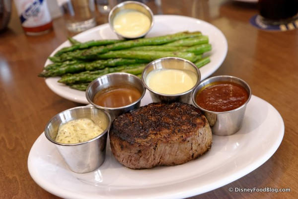 Eight-Ounce Filet Mignon with All of the Sauce Choices and a Side of Asparagus