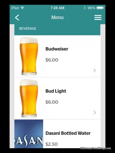 Fantasmic! Beverage options