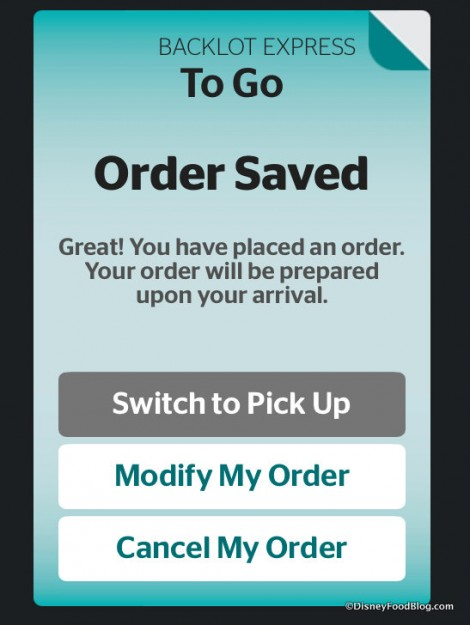 Order Saved screen