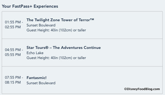 Hollywood Studios FastPass+ Selections
