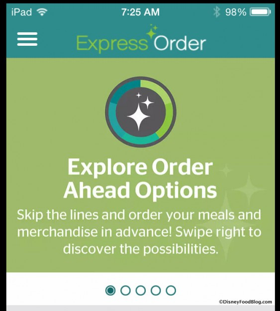 Express Order app Home Page