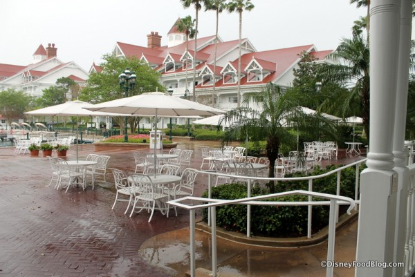 Outdoor seating in the rain