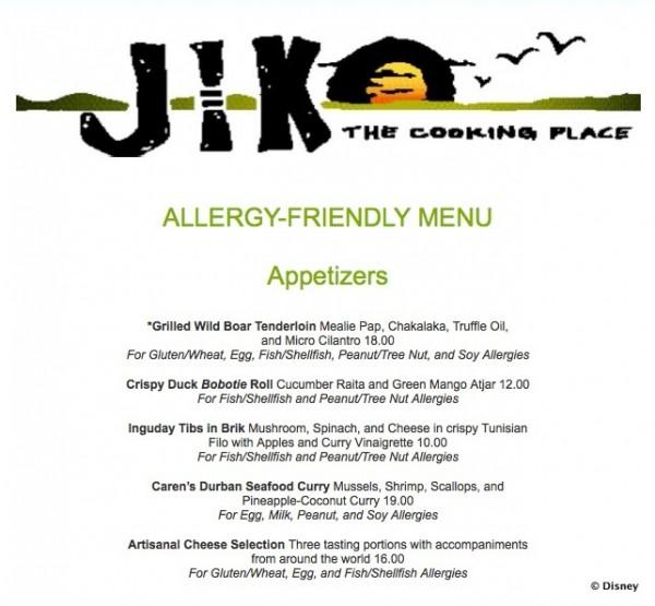 Jiko Allergy-Friendly Menu -- Appetizers -- Click to Enlarge