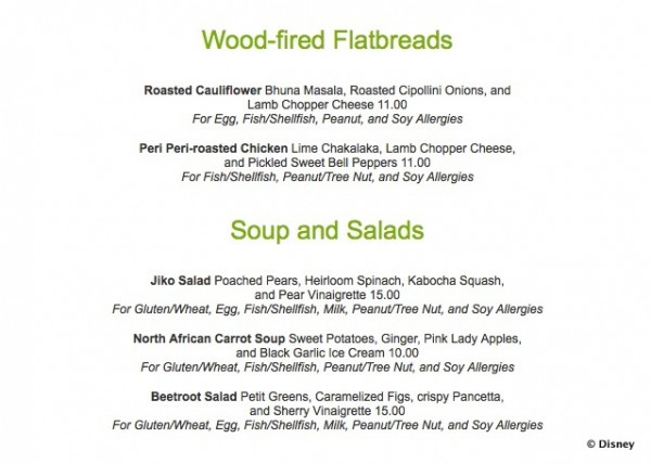 Jiko Allergy-Friendly Menu -- Flatbreads and Soups & Salads -- Click to Enlarge