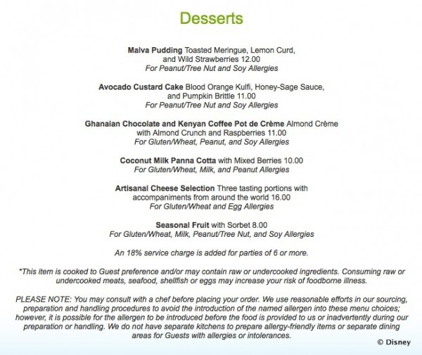 Jiko Allergy-Friendly Menu -- Desserts -- Click to Enlarge