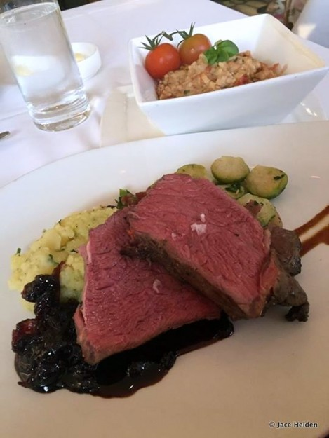 Bison Striploin with a Side of Tomato Risotto at California Grill