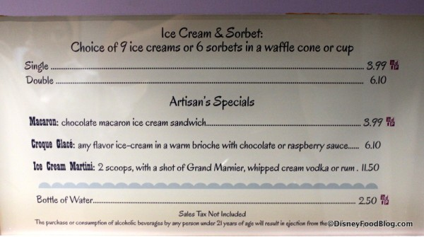 Menu at L'Artisan des Glaces