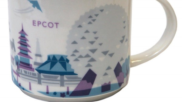 "New Epcot Starbucks ""You Are Here"" Mug, Featuring a Grey Monorail (Photo Credit Steven A. Miller)"