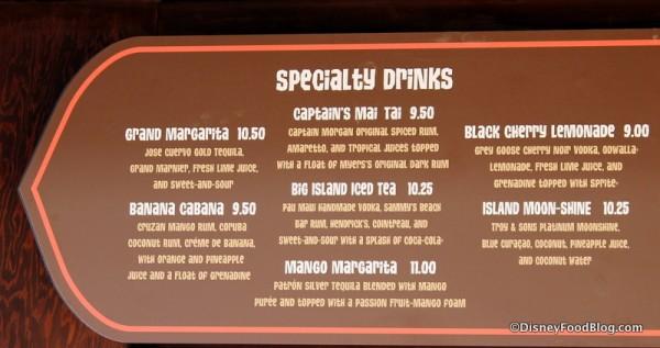 Specialty drinks closeup