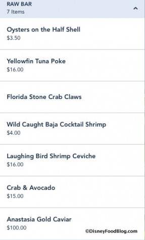 Raw Bar Menu