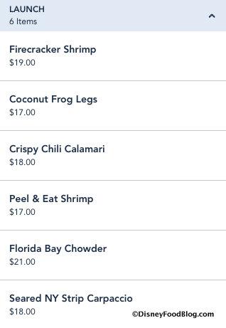 """Launch"" seafood appetizer menu"