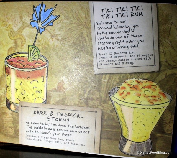 Dark & Tropical Stormy on the Trader Sam's menu