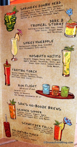 Tiki Terrace drink menu