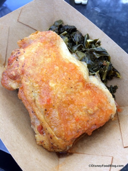 Griddled Yard Bird with Braised Greens and housemade habanero sauce