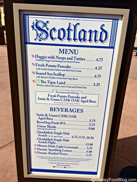 2015 Scotland Menu