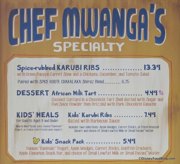 Chef Mwanga's specialty items