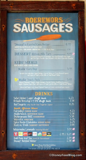 Famous Sausages menu