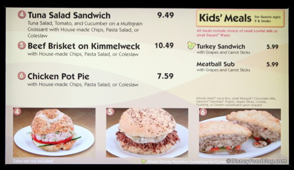Sandwiches Menu -- Click to Enlarge