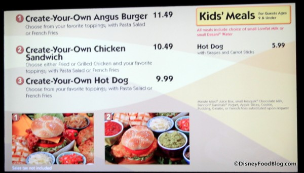 Menu -- Create Your Own Burger and Hot Dogs, Chicken Sandwich -- Click to Enlarge