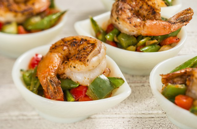 Grilled Sweet and Spicy Bush Berry Shrimp with Pineapple, Peppers, Onions and Snap Peas