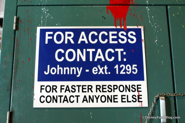 Contact Johnny sign