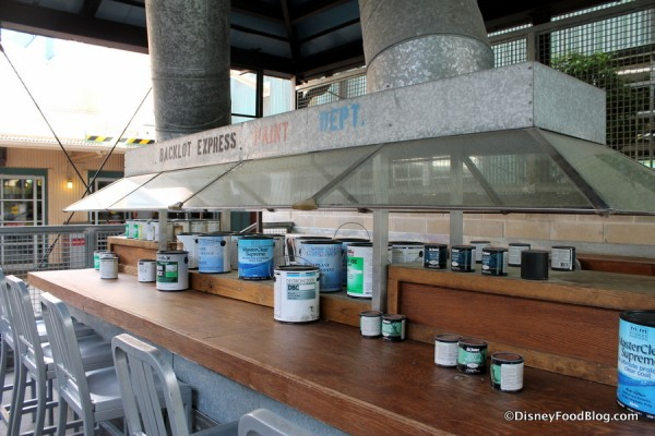 Paint cans in outdoor seating