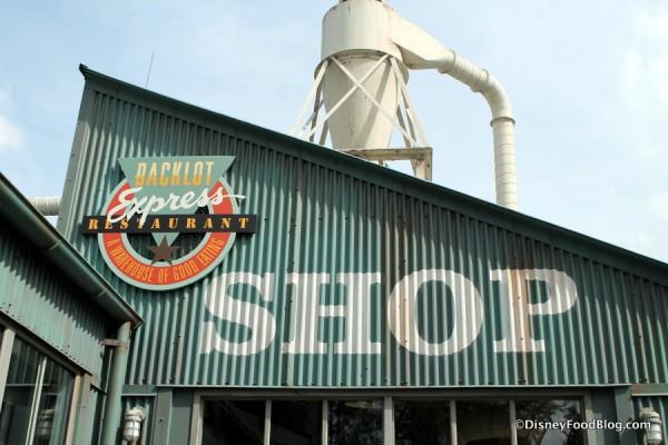 """Backlot Express sign and """"warehouse"""" entrance"""