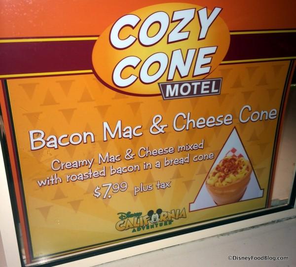 Bacon Mac & Cheese Cone sign