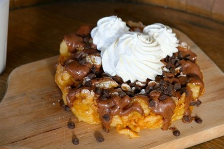 I WILL be trying this Mocha Chip Funnel Cake in Disneyland on Friday! ©Disney