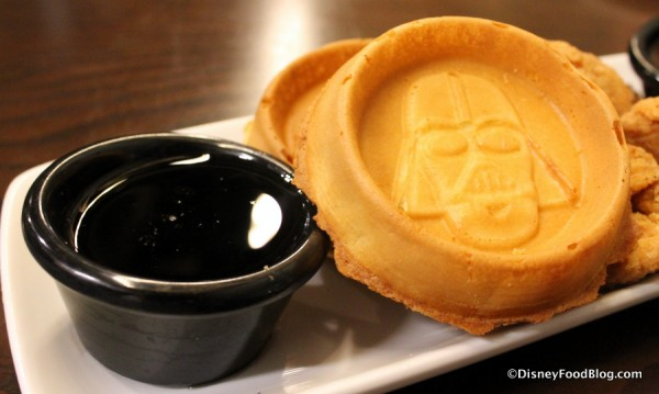 Darth Vader Waffles with maple syrup