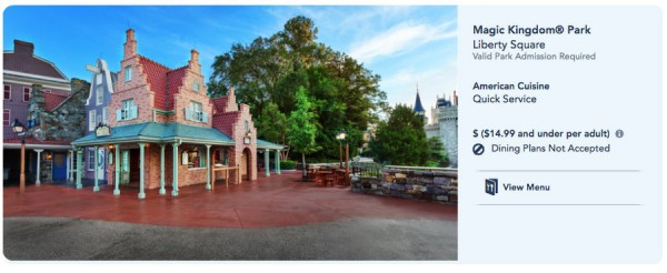 Screen shot of Sleepy Hollow webpage via the Disney World website