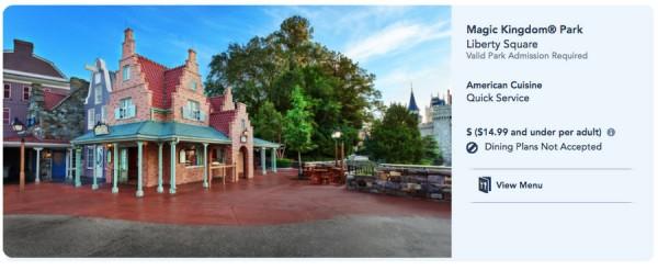 Screen shot of Sleepy Hollow webpage via the Disney World website