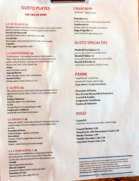 Tutto Gusto Menu -- Click to Enlarge