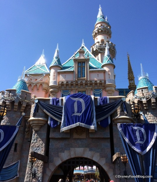 Sleeping Beauty Castle decked out for the Diamond Anniversary