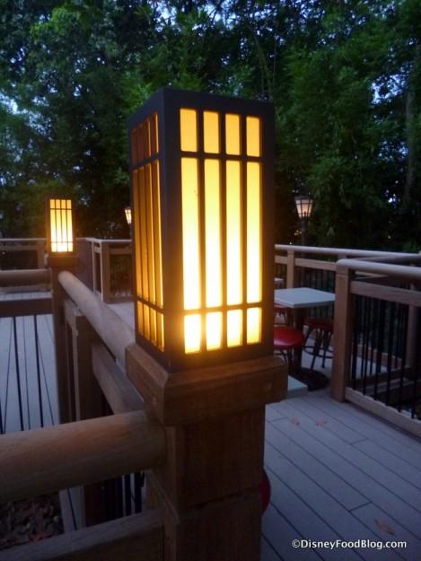 Lighting at Japan Pavilion outdoor seating