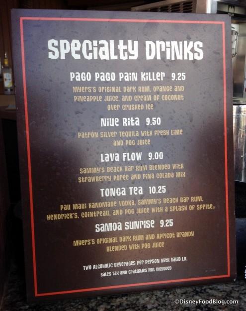 Specialty Drink Menu