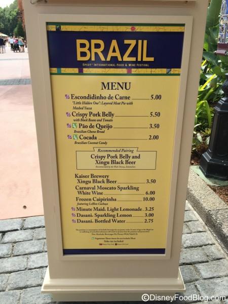 2015 Brazil Menu