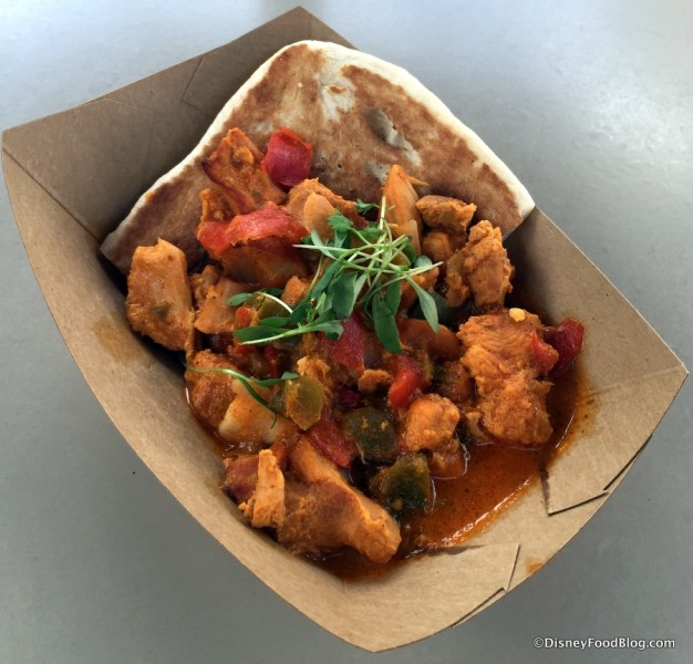 Buttered Chicken with Micro Cilantro and Naan Bread