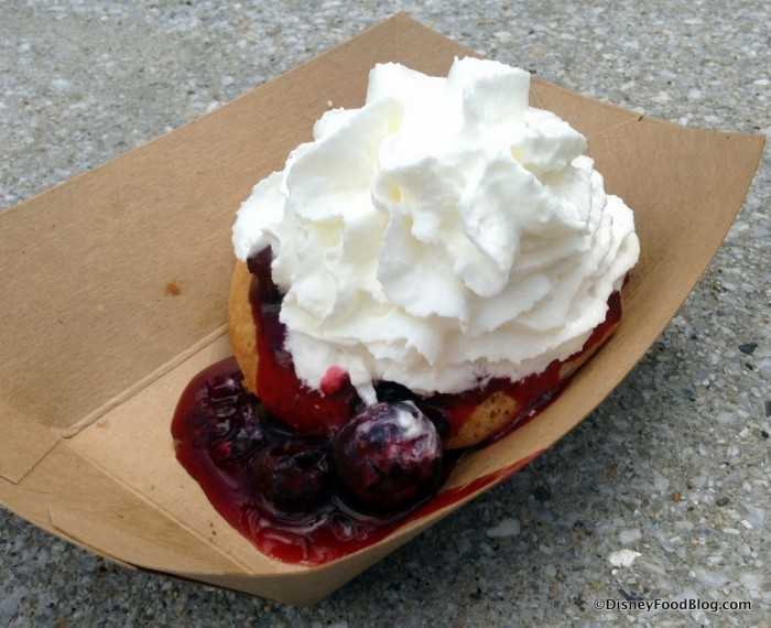 Belgium waffle with berry compote and whipped cream