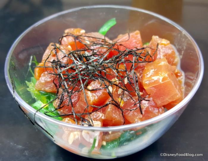 Hawaii Tuna Poke with Seaweed Salad and Nori Strings