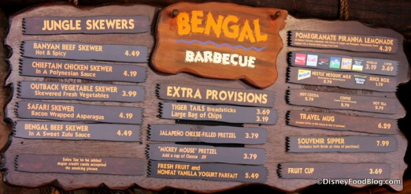 Bengal Barbecue menu