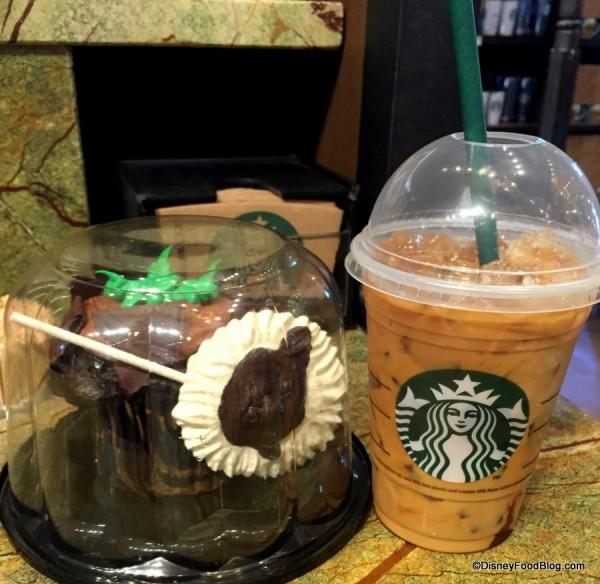 Cupcake and Quad Iced Espresso