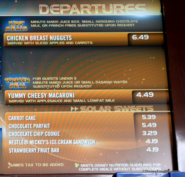 Close-up on Kids and Toddler menu and Desserts