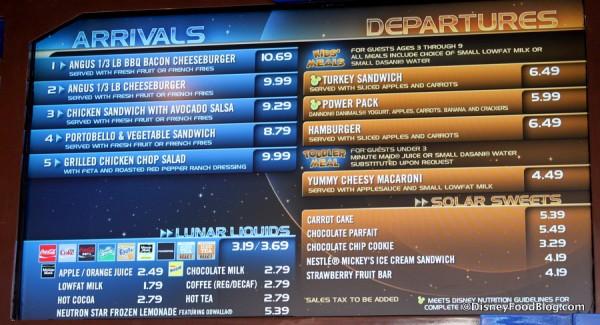 Tomorrowland Terrace menu