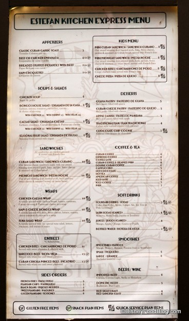 Bongos Cuban Café Express menu