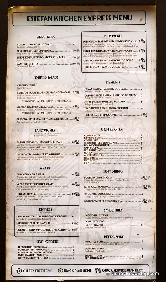 Bongos Cafe Express Menu